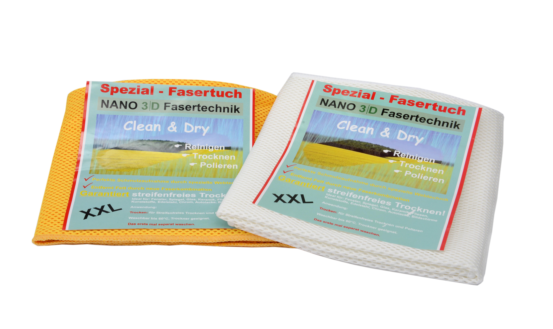 Dry & Clean Tuch XXL, 2 Stück (60x40cm) gelb und grün oder weiß (nach Verfügbarkeit)